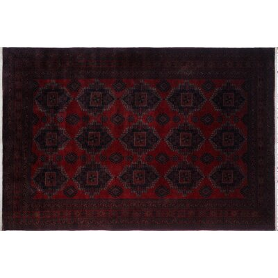 One-of-a-Kind Alban Neutral Hand-Knotted Rectangle Red Wool Area Rug