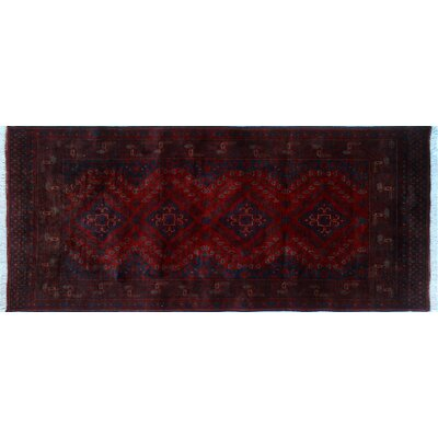 Alban Neutral Hand-Knotted Rectangle Red Indoor Area Rug