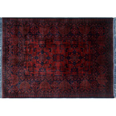 Alban Oriental Pattern Hand-Knotted Red Area Rug