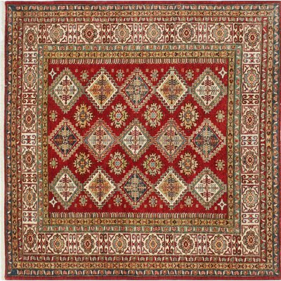 Kazak Super Usmaan Hand-Knotted Red Area Rug