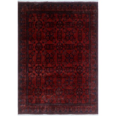 Alban Hand-Knotted Rectangle Red Indoor Area Rug