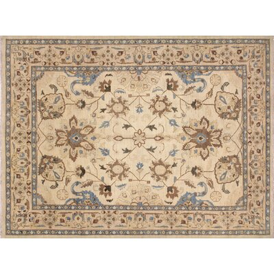 One-of-a-Kind Leann Hand-Knotted Oriental Rectangle Ivory Premium Wool Indoor Area Rug