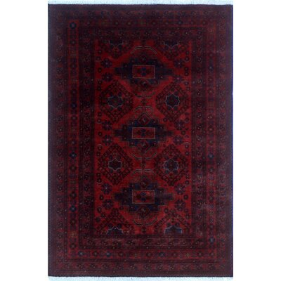 One-of-a-Kind Alban Hand-Knotted Red Premium Wool Border Area Rug