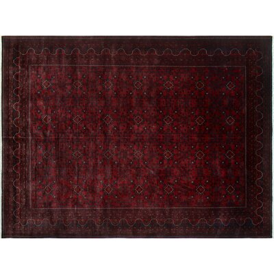Alban Oriental Hand-Knotted Rectangle Red Indoor Wool Area Rug