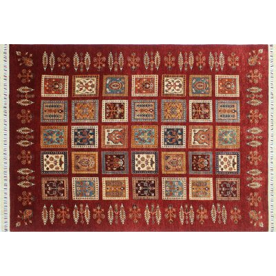 Acer Hand-Knotted Geometric Red Area Rug