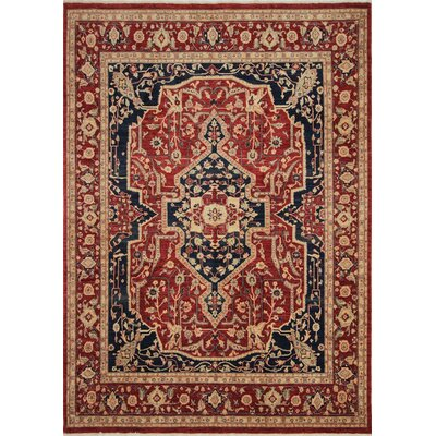 Leann Hand-Knotted Rectangle Rust Wool Area Rug
