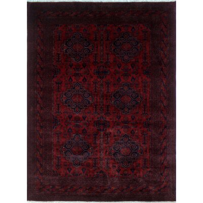 Alban Neutral Hand-Knotted Red Wool Area Rug
