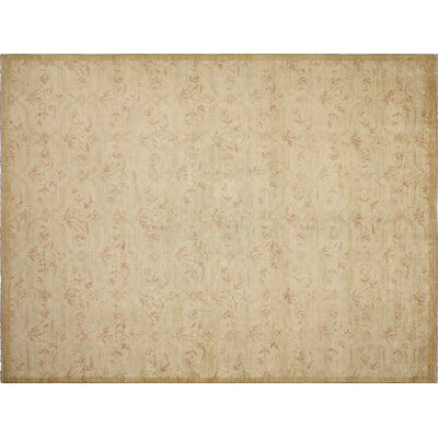 Leann Hand-Knotted Light Green Wool Area Rug