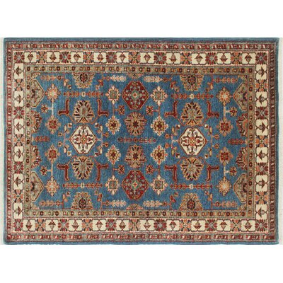 One-of-a-Kind Kazak Super Fatiha Hand-Knotted Blue Area Rug