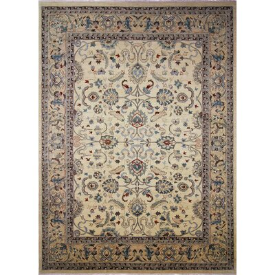 One-of-a-Kind Leann Hand-Knotted Ivory Wool Indoor Area Rug