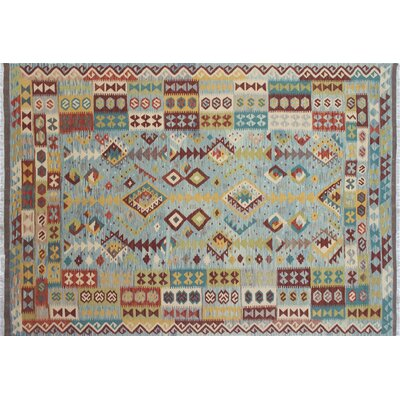 One-of-a-Kind Kilim Albina Hand-Woven Light Blue Area Rug