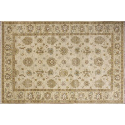 Leann Hand-Knotted Oriental Rectangle Ivory Area Rug