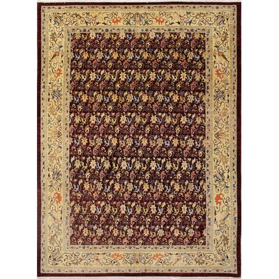 One-of-a-Kind Montague�Hand-Knotted Floral Motifs Red Area Rug