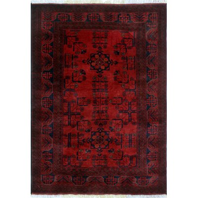 Alban Tribal Hand-Knotted Red Geometric Oriental Area Rug