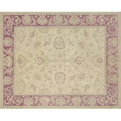 Leann Hand-Knotted Oriental Ivory Indoor Wool Area Rug