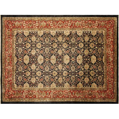 Leann Hand-Knotted Rectangle Black Indoor Wool Area Rug