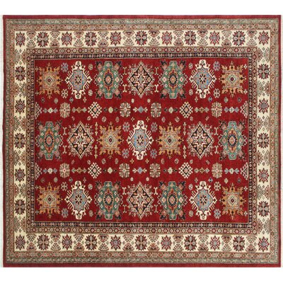 Kazak Super Ajwa Hand-Knotted Red Area Rug