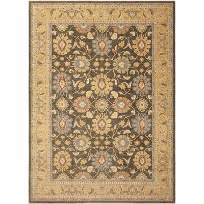 Leann Hand-Knotted Green Indoor Area Rug