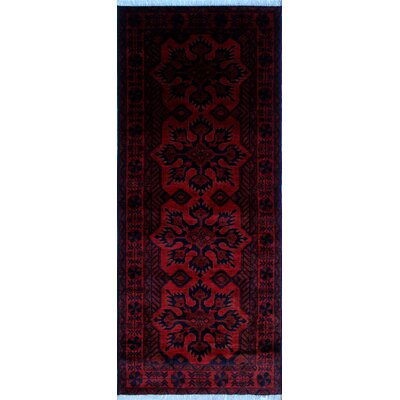 One-of-a-Kind Alban Hand-Knotted Red Oriental Border Area Rug