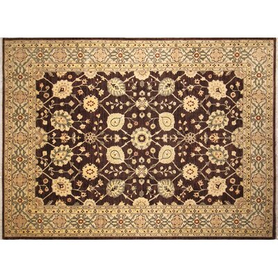 One-of-a-Kind Lahore Alma Hand-Knotted Chocolate Area Rug