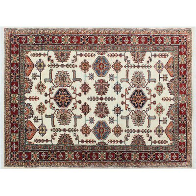 One-of-a-Kind Kazak Super Wisal Hand-Knotted Ivory Area Rug