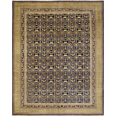Leann Hand-Knotted Oriental Rectangle Blue Wool Indoor Area Rug
