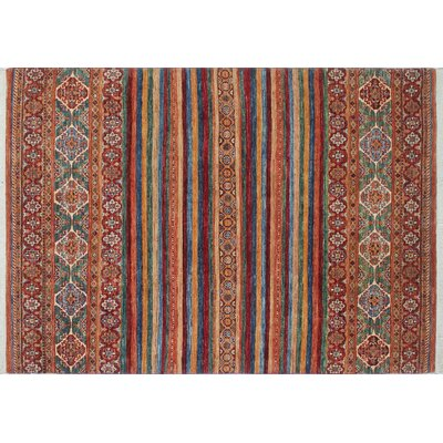 Acer Hand-Knotted Rectangle Rust Area Rug
