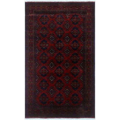 One-of-a-Kind Alban Hand-Knotted Red Geometric Oriental Area Rug