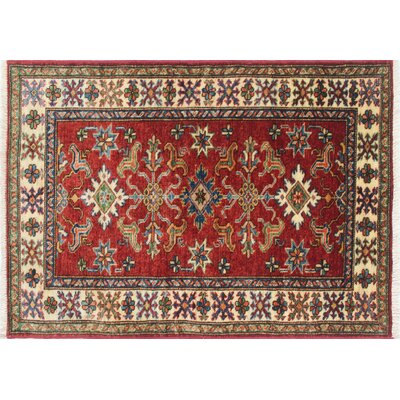 Kazak Super Khaliq Hand-Knotted Red Area Rug