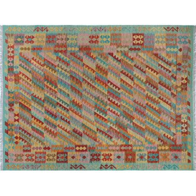 One-of-a-Kind Kilim Abderrahim Hand-Woven Teal Green Area Rug