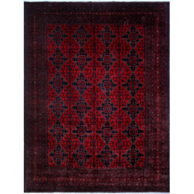 Alban Neutral Hand-Knotted Red Area Rug