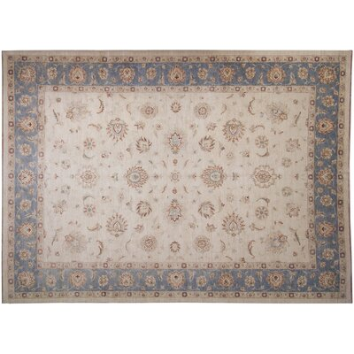 One-of-a-Kind Leann Hand-Knotted Ivory/Blue Area Rug