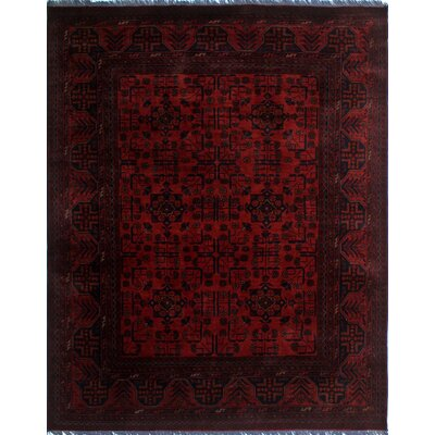 Alban Tribal Hand-Knotted Rectangle Red Geometric Area Rug