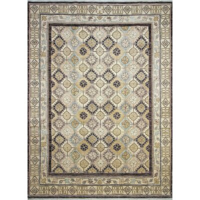 Leann Hand-Knotted Brown Area Rug