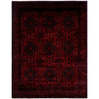 Alban Hand-Knotted Rectangle Red Premium Wool Fringe Area Rug