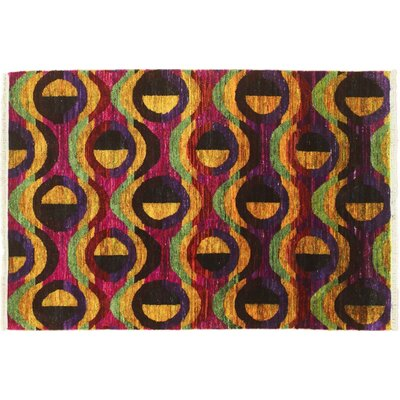 Sari Silk Said Hand-Knotted Orange Area Rug