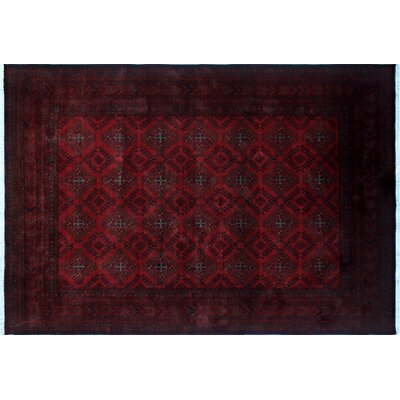 One-of-a-Kind Alban Border Hand-Knotted Red Indoor Area Rug