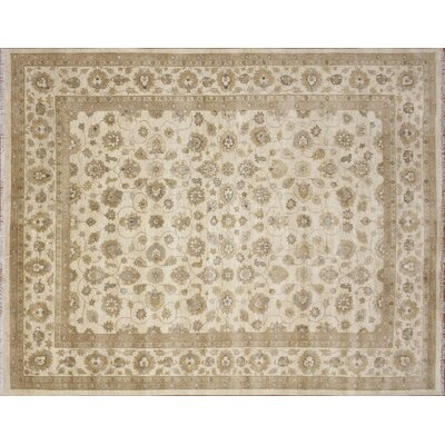 Leann Hand-Knotted Oriental Rectangle Ivory Wool Area Rug