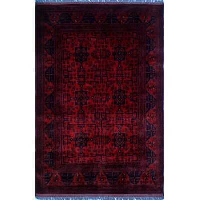 One-of-a-Kind Alban Oriental Border Hand-Knotted Red Premium Wool Area Rug