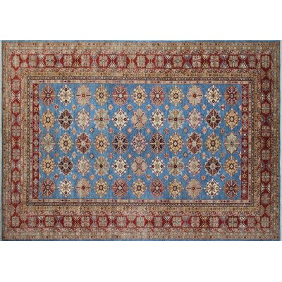 One-of-a-Kind Kazak Super Warith Hand-Knotted Blue Area Rug