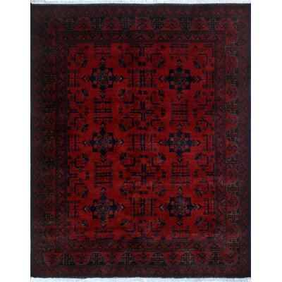 Alban Tribal Hand-Knotted Rectangle Red Indoor Area Rug