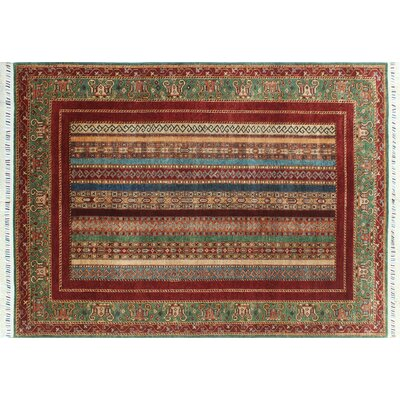 Acer Hand-Knotted Rectangle Red Fringe Oriental Area Rug