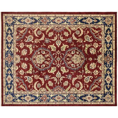 Leann Hand-Knotted Rectangle Red Wool Area Rug