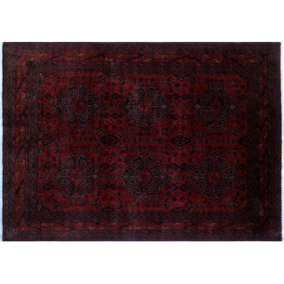 One-of-a-Kind Alban Geometric Hand-Knotted Rectangle Red Premium Wool Area Rug