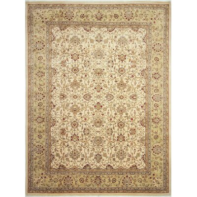 One-of-a-Kind Leann Hand-Knotted Oriental Ivory Wool Area Rug