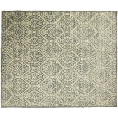 One-of-a-Kind Transitional Feroz Hand-Knotted Green Area Rug