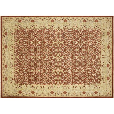 One-of-a-Kind Leann Hand-Knotted Oriental Rust Wool Area Rug