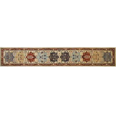 Leann Hand-Knotted Runner Ivory Wool Area Rug