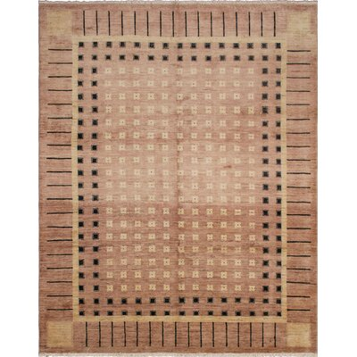 Leann Hand-Knotted Oriental Rectangle Beige Wool Area Rug