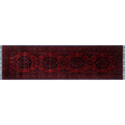 Alban Hand-Knotted Dark Red Area Rug